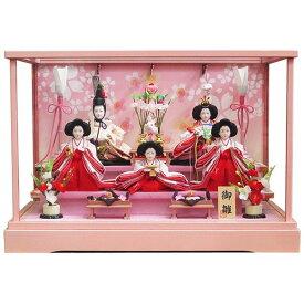 雛人形五人揃ピンク塗りケース飾り つるし飾り付き