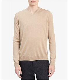 Calvin Klein Men's Merino Sweater V-Neck Solid ニット・セーター - メンズプルオーバーセーター Travertine