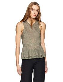 BCBGMAXAZRIA Women's Hanne Geometric Lace Peplum Top ブラウス・シャツ - ガールズブラウス&ボタンダウンシャツ Dusty Olive