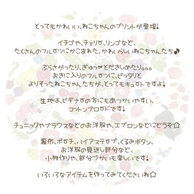 フルーツ大好き♪ねこちゃん☆≪コットンブロード≫※108cm幅コットン100%
