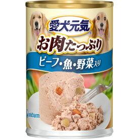 ユニ・チャームペットケア 愛犬元気 缶 ビーフ・魚・野菜入り 375g