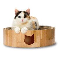 猫壱バリバリボウル丸形爪とぎベッド猫柄