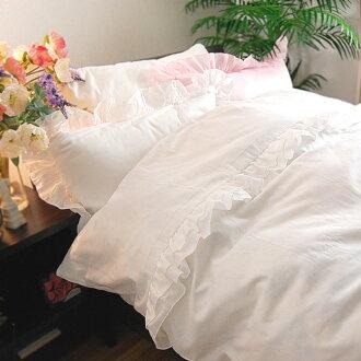 是被套,日本製造的三紗布可愛的褶邊的灰白色的單一 150 x 210 釐米 100%棉