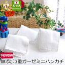 楽天1位 本物のガーゼハンカチ ミニ 15×15cm ベビーハンカチ 松並木 日本製 綿100% 98本 無添加ガーゼ 3枚重ね 0秒吸…