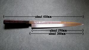 源泉正[IZUMIMASA]白鋼本焼桜花鏡面仕上柳刃包丁尺寸(300mm)