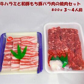 牛ハラミと和豚もちぶたバラ肉の焼肉セット 送料無料 3,4人前 柔らかい 美味しい
