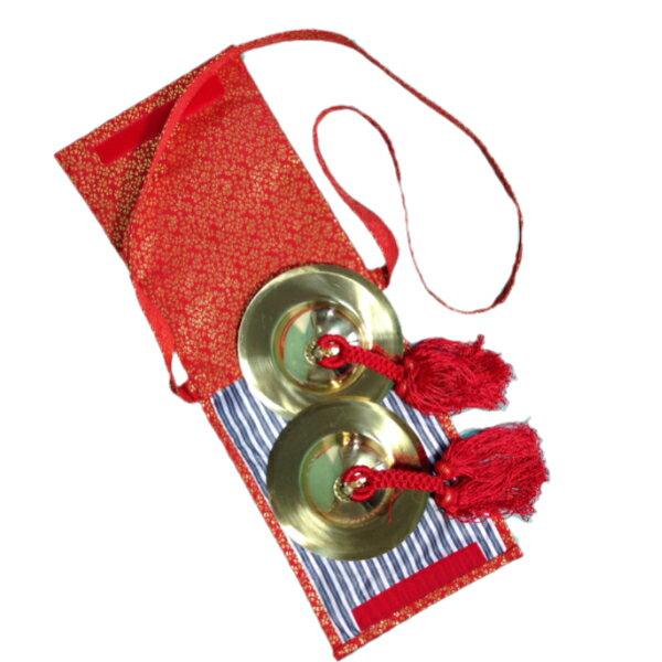手振鉦セット (チャッパ)手振鐘4寸赤房+手振鐘袋 赤金襴 or 紺金襴<送料無料>サイズ 手振鉦:4寸 直径12.5cm 手振鉦袋:長さ24cm☓18.5cm