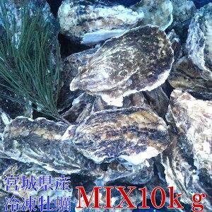無選別MIX10kg(約120粒)冷凍便送料無料! 宮城県産 殻付き牡蠣 殻付き 殻付 カキ 加熱用 一年子 松島牡蠣屋 無選別牡蠣