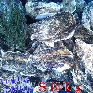 Sサイズ10kg(約120粒)冷凍便送料無料! 宮城県産 殻付き牡蠣 殻付き 殻付 カキ 加熱用 一年子 松島牡蠣屋 無選別牡蠣