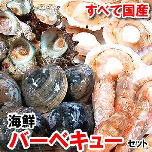 【送料無料】国産4種の海鮮バーベキューセット【冷凍】ホタテ(片貝)・サザエ・モサエビ、ホンビノスの4種入(さざえ、ほたて、帆立、bbq)【smtb-k】【kb】