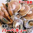 【送料無料】ホタテ(片貝)・サザエ・モサエビの3種海鮮バーベキューセット【冷凍】(さざえ、ほたて、帆立、bbq)【smtb-k】【kb】