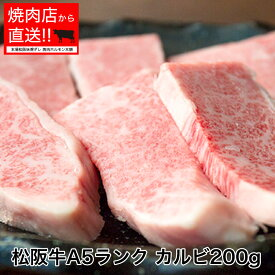 松阪牛A5ランク 松阪カルビ200g 証明書付き 焼肉店の味噌ダレ付き バーベキュー 焼肉 贈り物 お土産 牛肉