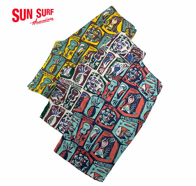 "SUN SURFサンサーフby Masked MabelSHORTS ""ISLAND WOODCUT""Style No.SS51838"