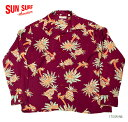 """MAUNA KEA GALLERIES × SUN SURFRAYON L/S アロハシャツ""""STUDDED WITH PALM TREE""""Style No.SS38032MGLS"""