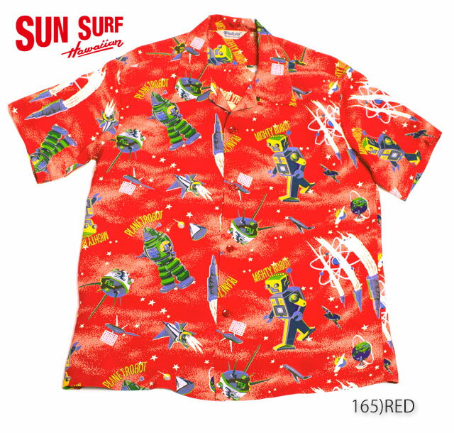 """SUN SURF サンサーフ RAYON S/S SPECIAL EDITION HOALOHA""""THE DAYS OF SPACE ROBOT"""" Style No.SS37257"""