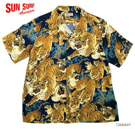 """SUN SURF サンサーフ RAYON S/S SPECIAL EDITION KALAKAUA """"ONE HUNDRED TIGERS"""" Style No.SS38201"""