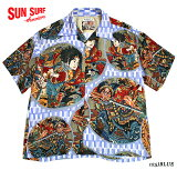 """SUNSURF日本の意匠×歌川国芳アロハシャツRAYONS/S""""通俗水滸伝豪傑百八人之一個""""StyleNo.SS38470"""