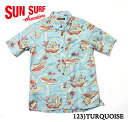 "MAUNA KEA GALLERIES × SUN SURFCOTTON & LINEN S/S BUTTON DOWN OPEN SHIRT""PARADISE OF THE PACIFIC""Style No.SS37865MG"