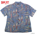 """SUN SURFサンサーフ アロハシャツCOTTON & LINEN S/S OPEN SHIRT""""SURF BORDS""""Style No.SS38109"""