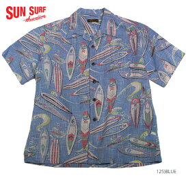 "SUN SURFサンサーフ アロハシャツCOTTON & LINEN S/S OPEN SHIRT""SURF BORDS""Style No.SS38109"
