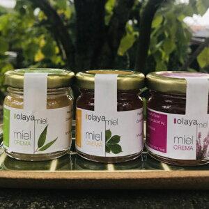 ハチミツ オラヤミエル クリーム蜂蜜ミニパック150g3種既存のユーカリ、エリカと栗の蜂蜜をセットしました。