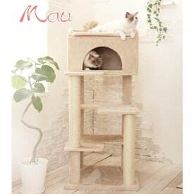 【安心1年保証】大型ねこちゃんがゆったりくつろげるタワー/Mauタワーゴールドクレエ/メインクーン・ラグドール・ノルウェージャン/大型キャットタワー/大型ねこタワー/大型猫/据置き/送料無料