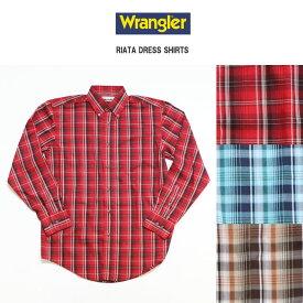 Wrangler ラングラー 長袖チェックボタンダウンドレスシャツ 全3色