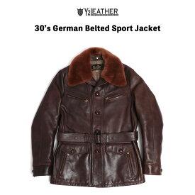 【店内全品ポイント5倍】Y'2LEATHER ワイツーレザー 30'S German Beited Sport Jacket ハンドオイルホース ムートン デタッチャブル レザージャケット アウター ジャケット 革ジャン