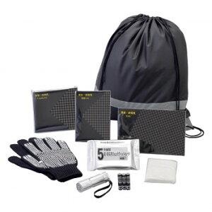 防災害 非常用 反射テープ付き ブラック 巾着リュックバッグ 8点Aセット 50765