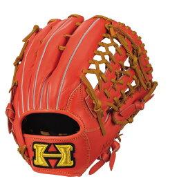 ハイゴールド 軟式野球グラブ 己極シリーズ 外野手用グローブ ファイヤーオレンジ×タン OKG6438