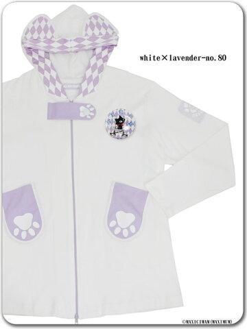 9X2005ダイヤ柄ネコミミジュピリン肉球パーカー