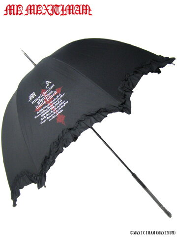 90K002フリル付き十字架プリントアンブレラ(マキシマム、MAXIMUM、ゴシック、傘)