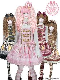 8W1008 黒猫アリスのマジカル☆ダイヤ柄の不思議な懐中時計サロペット