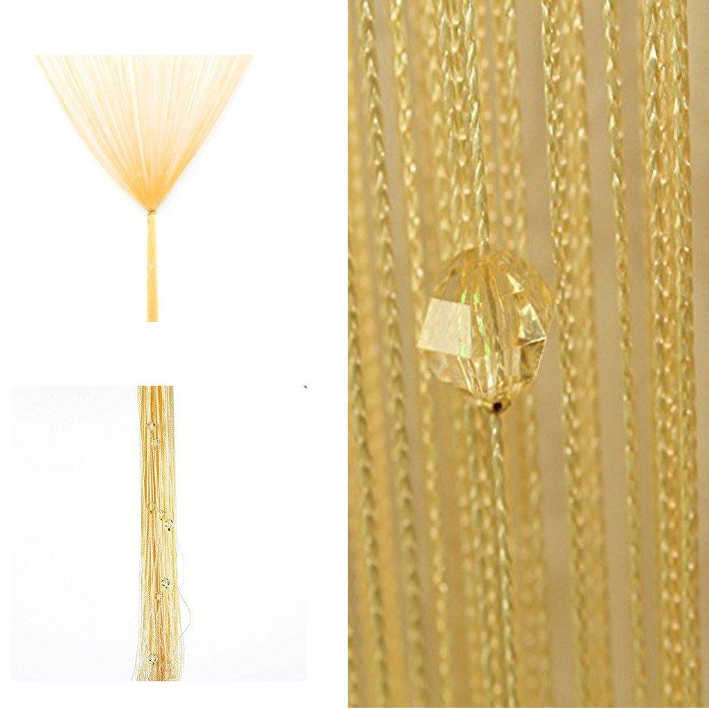 ひものれん 紐のれん ストリングカーテン キラキラストーン付き おしゃれ 目隠し 模様替え 間仕切り ロング丈 長さ調節可能 インテリア カーテン 全11色 (ゴールド)
