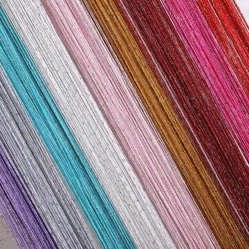 ひものれん紐のれんストリングカーテンキラキラストーン付きおしゃれ目隠し模様替え間仕切りロング丈長さ調節可能インテリアカーテン全11色(パープル)