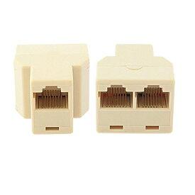 LANケーブル 延長コネクタ 2分岐 8極8芯 RJ45 中継コネクタ 1個 A01084