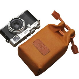 カメラポーチ 巾着型 合皮製 カメラケース ミラーレス レンズポーチ デジカメ 耐衝撃 ブラウンMサイズA00976