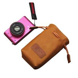 カメラポーチ 巾着型 合皮製 カメラケース ミラーレス レンズポーチ デジカメ 耐衝撃 ブラウンSサイズA00975
