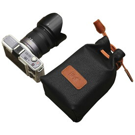 カメラポーチ 巾着型 合皮製 カメラケース ミラーレス レンズポーチ デジカメ 耐衝撃 ブラックMサイズA00979