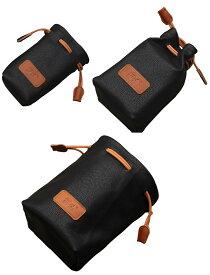 カメラポーチ 巾着型 合皮製 カメラケース ミラーレス レンズポーチ デジカメ 耐衝撃 ブラック3個セットA00978〜980