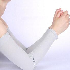 aquaX 接触冷感 UV アームカバー レディース 指穴なし グレー