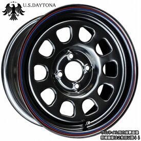 ■ U.S.Daytona デイトナ ■15x7.0J オフセット+30 PCD100ブラック色 ホイール4本セット走り屋/ヘラフラ/シャコタン推薦!!カスタム/チューニングサイズ