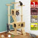 1年保証 キャットツリー 据え置き スリム 高さ 170cm 幅 55cm ハウス付き 猫タワー シニア 運動不足 猫ちゃん CROWN17…