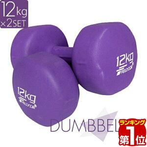 1年保証 ダンベル 12kg 2個セット カラーダンベル セット 合計 24kg 筋トレ グッズ トレーニング 男女兼用 男性 女性 メンズ レディース 鉄アレイ 鉄アレー インナーマッスル 筋力 自宅 エクササ