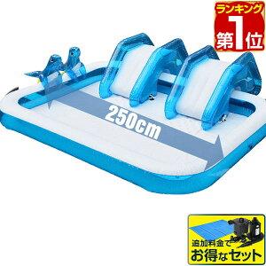 1年保証 プール ビニールプール 滑り台 アシカちゃん シャワー付 2.5m 大型 スライダー プール 幅250cm×奥行190cm×高さ25cm 電動ポンプ 水遊び おもちゃ すべり台 屋外 キッズプール ベビープール
