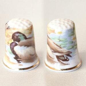 カモ Duck ダック水辺の鳥 マガモイギリス シンブル 指貫き P19Jul15