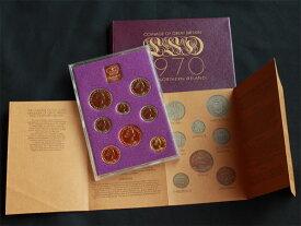 1970年 Proof 8枚Set 最終発行年 イギリス ロイヤルミント エリザベス2世女王 記念硬貨 UNC 未流通の極美品 クリアー コインホルダー入り ペニー ハーフペニー 3 6 ペンス シリング フローリン ハーフクラウン 解説書付き 【送料無料】 世界のコイン セット