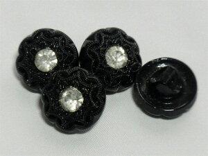レーシーフラワー ラインストーン 13.5mm 4個セット チェコ ガラスボタン シックなブラックガラス 花