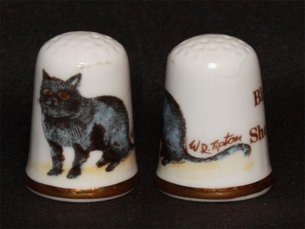 猫のシンブル(指貫)ブラック・ショートヘアー(Black Short Hair)黒猫ケイバーズウォール(Caverswall)W.R.Tipton画 P25Jun15
