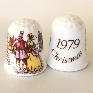1979年 クリスマス コールポート Coalport クリスマスの町の風景 イヤーズ シンブル 指貫き 誕生日 プレゼント ソーイング コレクション アイテム 小物 02P23Aug15